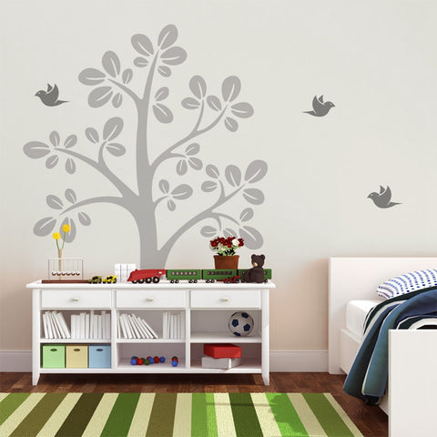 Large Tree Vinyl Wall Decals With Flying Birds