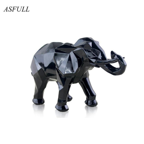 Modern Abstract Black Elephant Statue Resin Ornaments