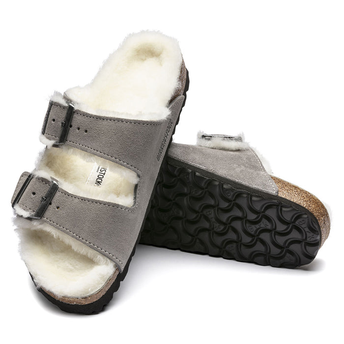 Womens Birkenstock Arizona Shearling Stone Coin