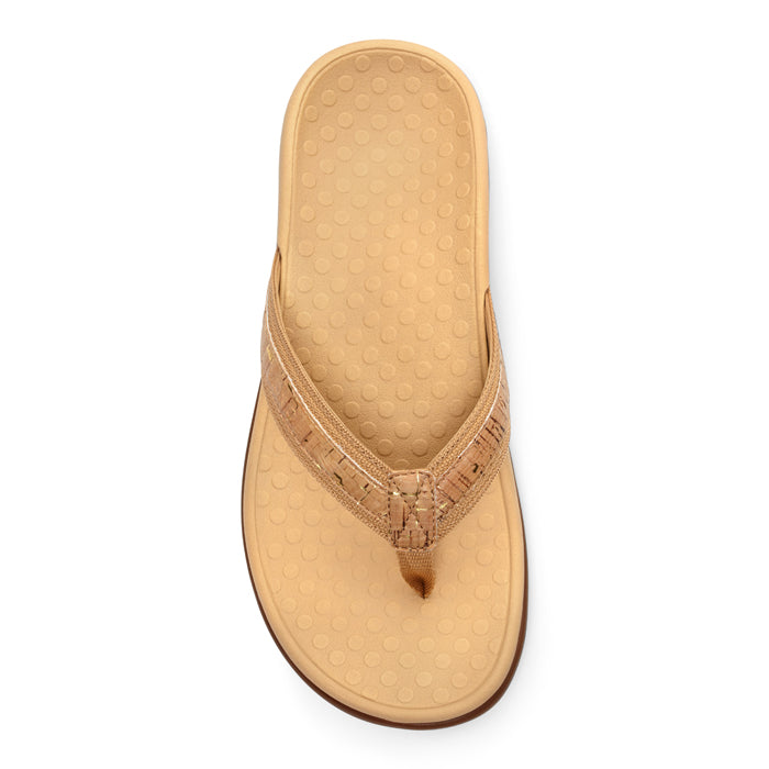 Womens Vionic Tide II Toe Post Sandal Gold Cork