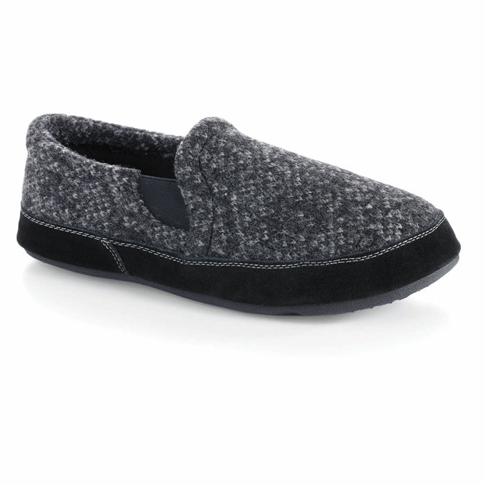 Mens Acorn Fave Gore Italian Wool Moccasins Charcoal Tweed