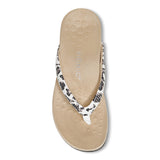 Womens Vionic Dillon Snake Toe Post Sandal White Leopard