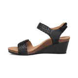 Aetrex Grace Adjustable Woven Wedge Sandal Black