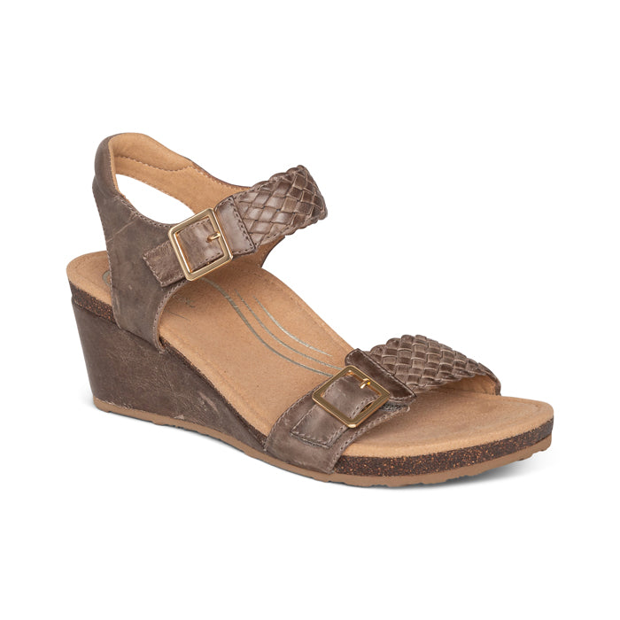 Womens Aetrex Grace Adjustable Woven Wedge Sandal Taupe