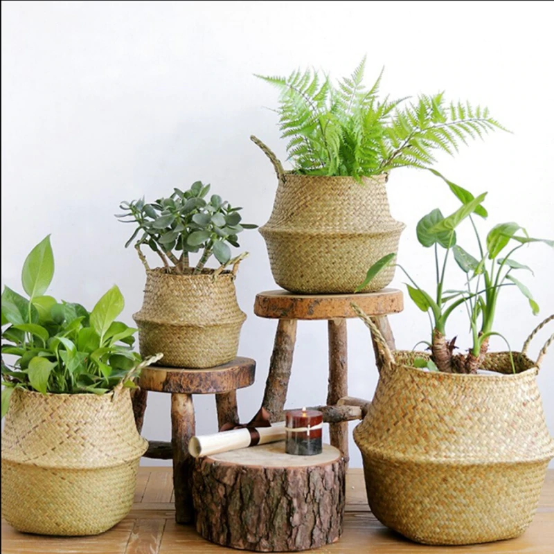 Hand-Woven, Eco-Friendly, and Sustainable Rattan Seagrass Baskets