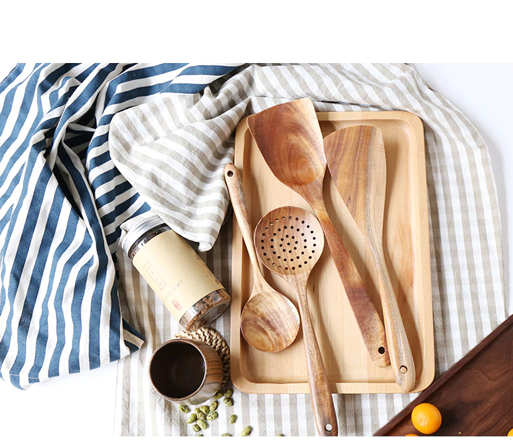 Thailand Teak Natural Wood Cooking Spoon Set