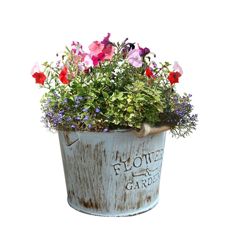 Rustic Metal Flower Bucket