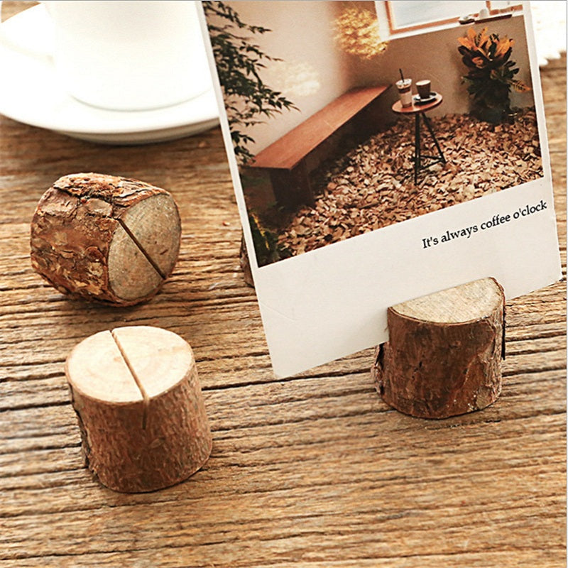 Rustic Wood Picture/Card Holders - 5 Pcs