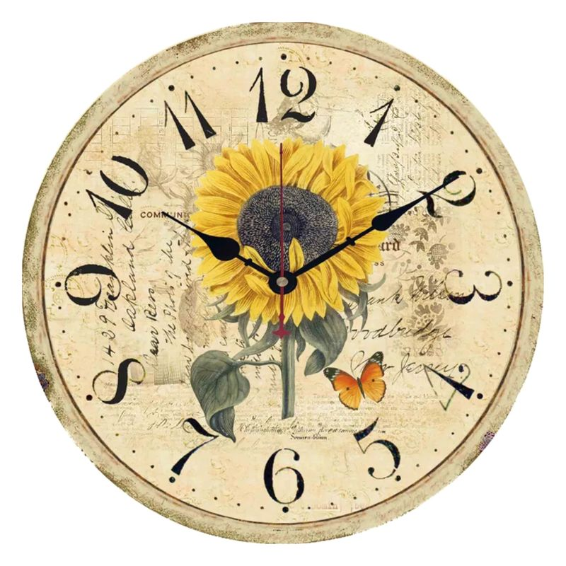 Rustic Sunflower Cottage Wall Clock