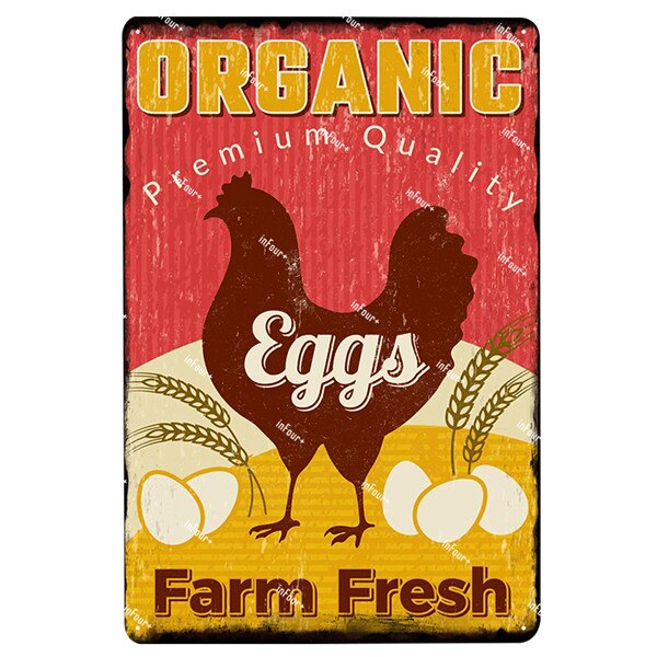 Vintage Metal Farm and Chicken Signs