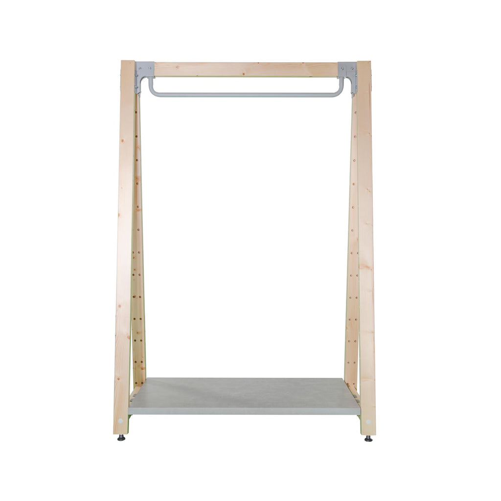pinewood and metal clothes rail for sports shops