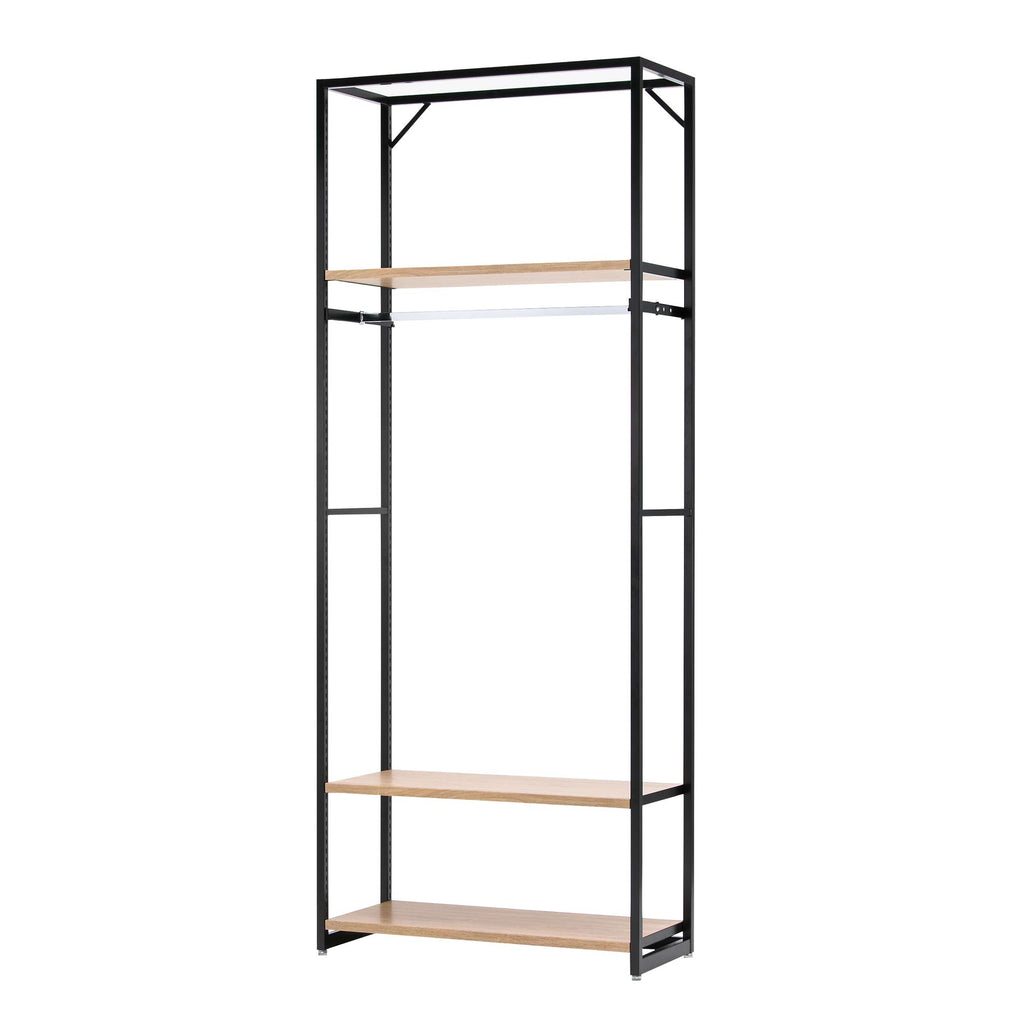 Lateral 4 - Shelving Unit with Clothes Rack - Rustic