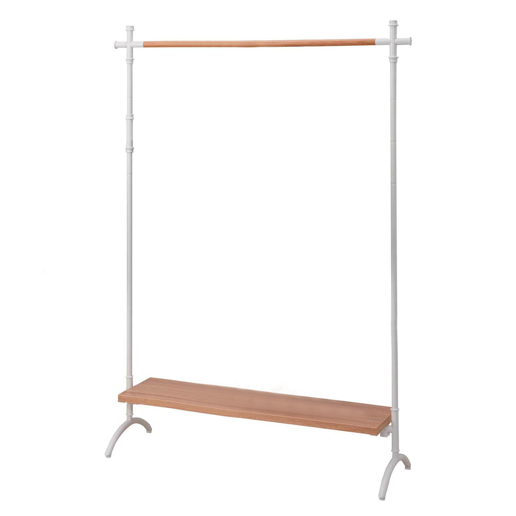 Decorative Clothes Rack With Shelf - White and Oak