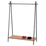 A-frame Clothes Rack with Rustic wooden Shelf - Black