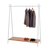 A-frame Clothes Rack  with Rustic wooden Shelf - White