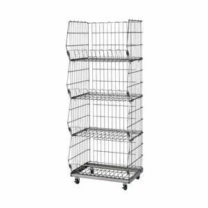 steel wire mesh basket cart - 4 baskets - wide