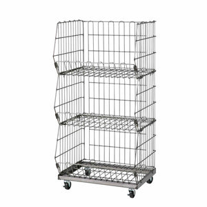 Steel wire mesh basket cart - 3 baskets - wide
