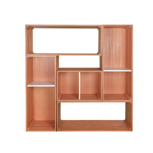 stacked display crates in a bookcase layout - Tumiki series