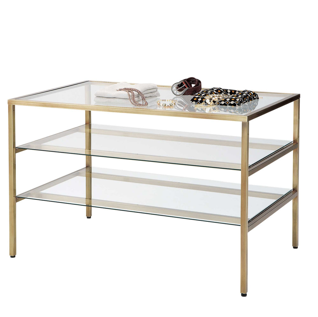 brass salon and display table with glass shelves