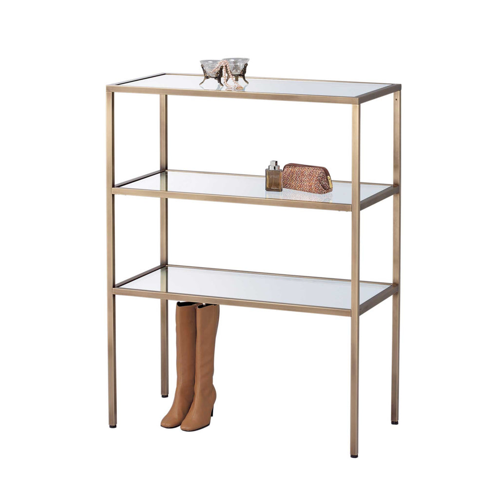 brass salon table with glass shelves