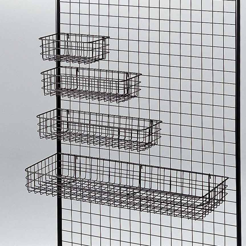 black mesh basket for gridwall panels