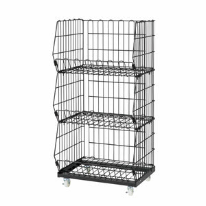 black wire mesh basket cart - 3 baskets - wide