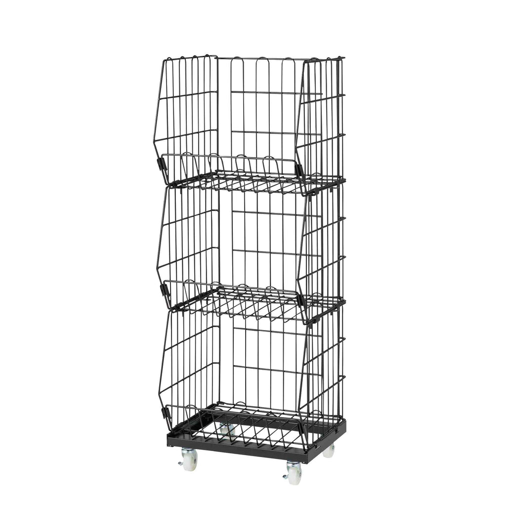 Portable Basket Rack 3 Tiers - Black