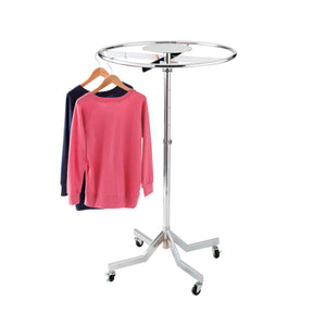 Portable round clothes rail that can be stacked and folded - chrome