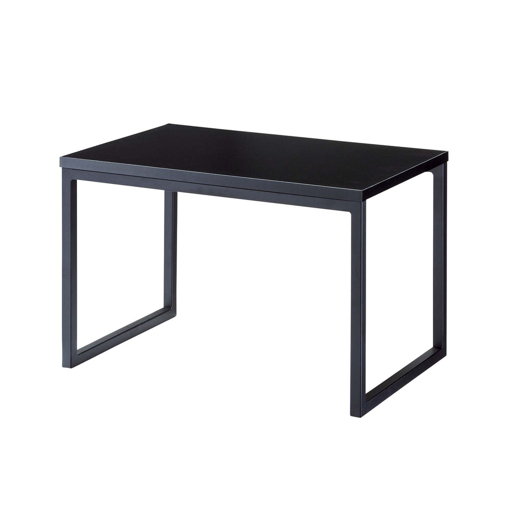 black product podium made of steel and wood