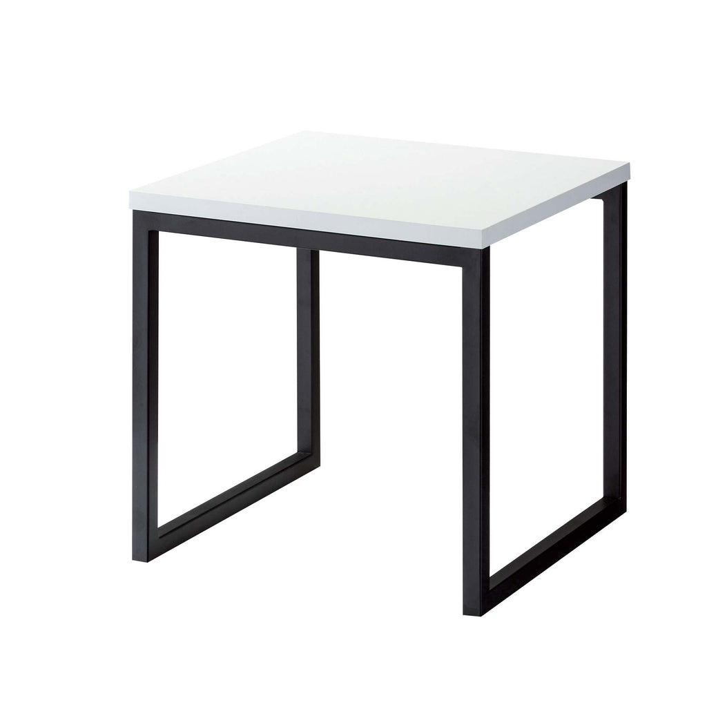 black and white product podium made of steel and wood