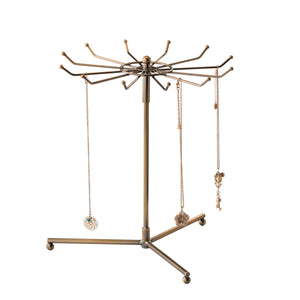 Brass rotating jewellery and accessoriesdisplay stand