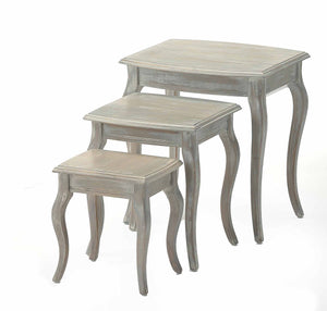 shabby chic nest of tables with curved legs in a weathered grey colour