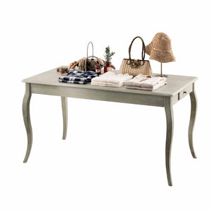 shabby chic table with curved legs in a weathered grey colour