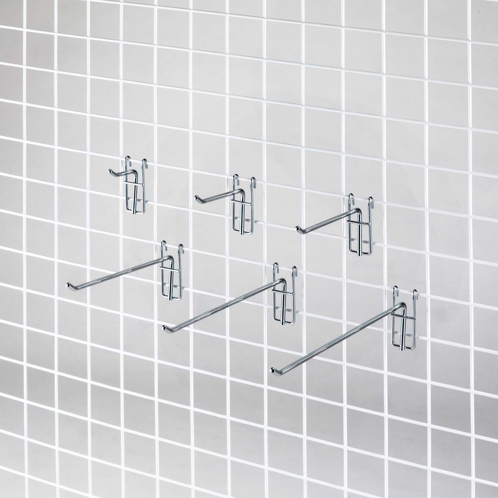 gridwall display prongs with card holders attached - several lengths