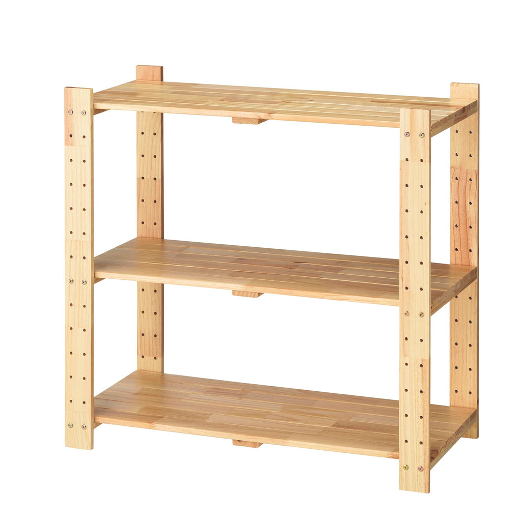 Low wooden shelf rack for shops