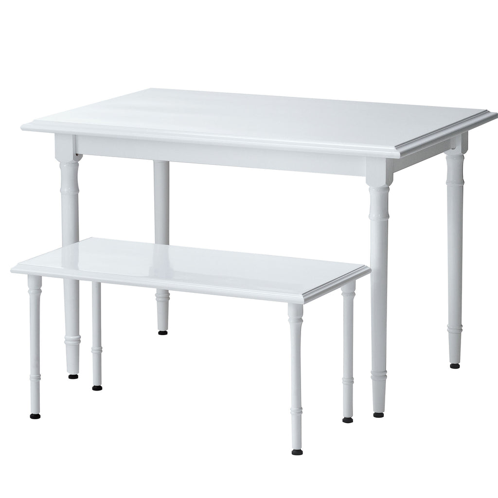 decorative glossy white display table with spindled legs
