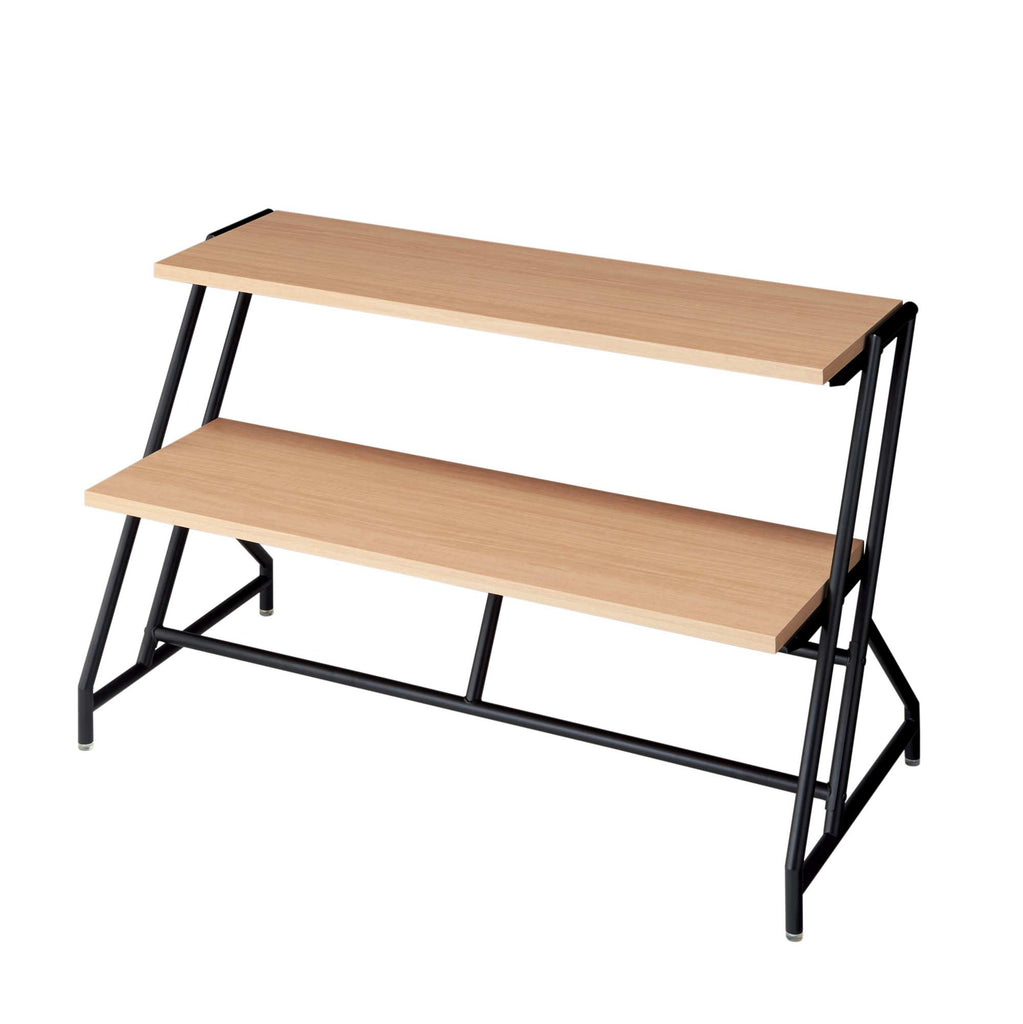 tiered display table with a black tube frame