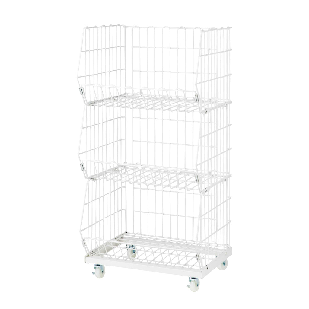 White wire mesh basket cart - 3 baskets - wide