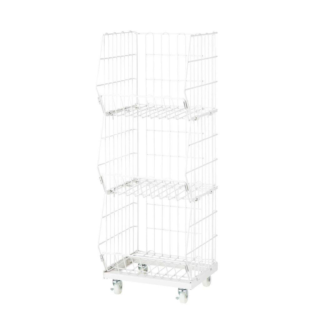 White wire mesh basket cart - 3 baskets - slim