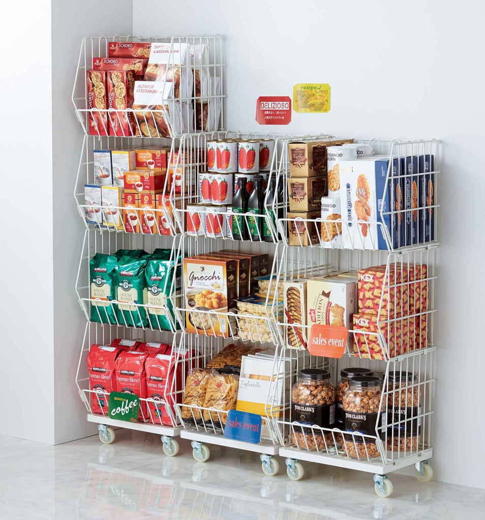 Portable Basket Rack 3 Tiers - White