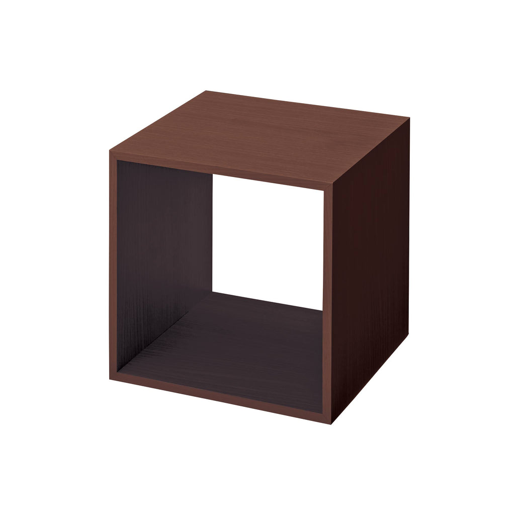 Wooden display cube from dark mahogany for product merchandising