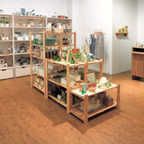Shop designed with cheap wooden shelf racks