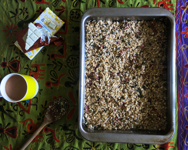 Granola in a tray with Doisy & Dam chocolte