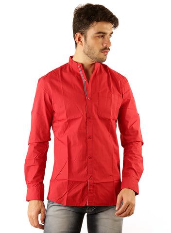 SHADE-45 Chinese collar Red Casual Cotton Slimfit Shirt for Men