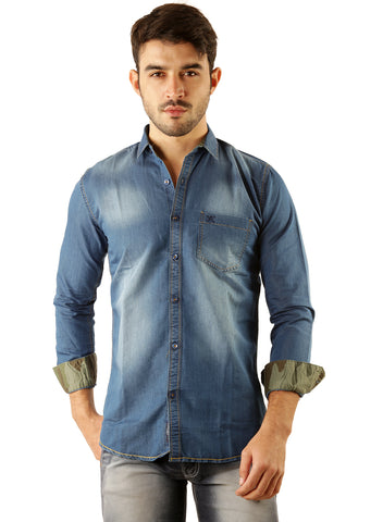 SHADE-45 Casual Denim Blue Slimfit Shirt for Men