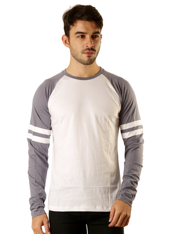 UD Sports Casual Cotton Men's White and Grey T-Shirt