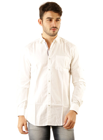 SHADE-45 Casual Plain White  Cotton Slimfit Shirt for Men