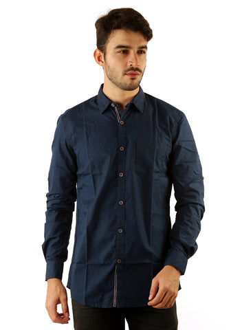 SHADE-45 Casual Plain Navy Cotton Slimfit Shirt for Men