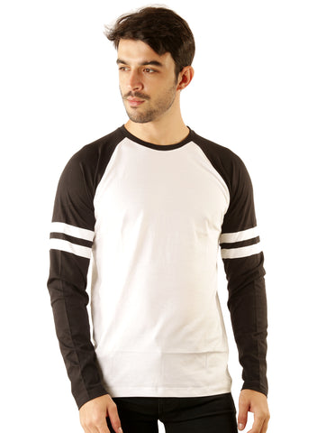 UD Sports Casual Cotton Men's White and Black T-Shirt