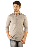 SHADE-45 Men's Plain Grey Cotton Slimfit Shirt